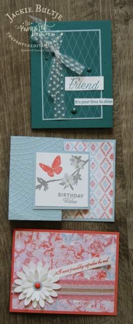 Epic In Colour Day cards featuring Pretty Peacock, Rococo Rose, Seaside Spray and Terracotta Tile