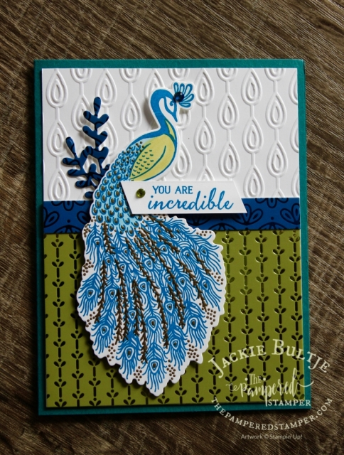 Royal Peacock card made by Kathy Morgan using Noble Peacock designer series paper and beads & baubles embossing folder