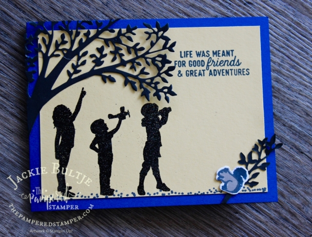 This fun silhouette scenes card uses a combination of so saffron and blueberry bushel cardstock.