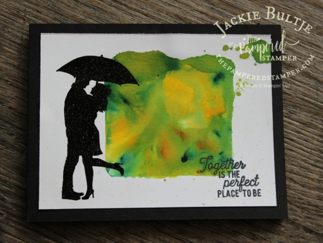 I combined Pigment Sprinkles with Silhouette Scenes for this dramatic card