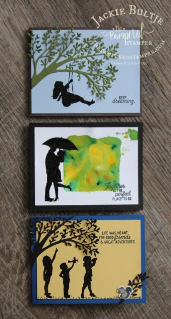 Silhouette Scenes cards for the weekly Tuesday coffee and a card class