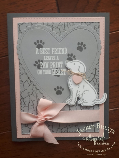 Happy Tails with heart framelits and crackle paint background- card made by my tribe