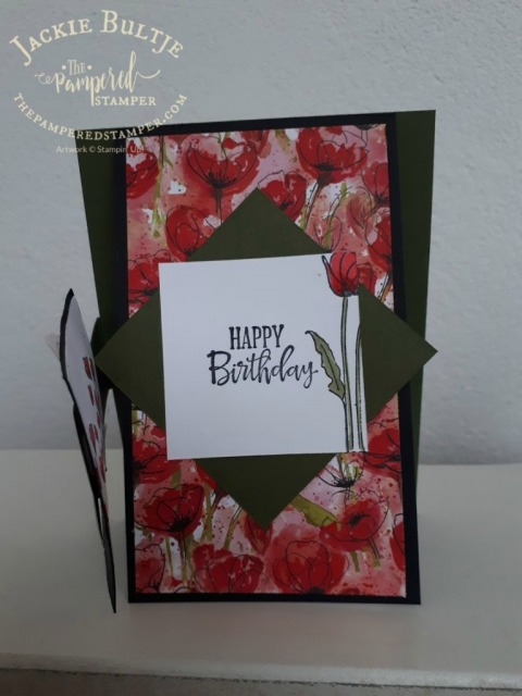 Fun flap fold card with peaceful poppies