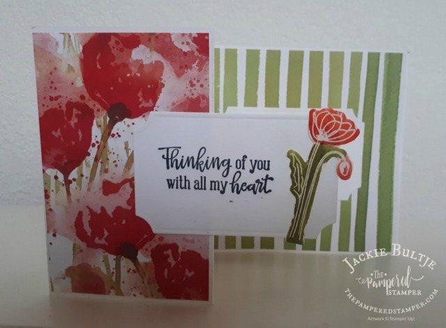Z-Fold card using Peaceful Poppies