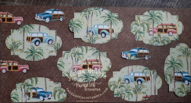 Tropical Oasis paper with vintage station wagons