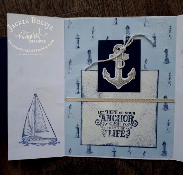Inside of Come Sail Away card- masculine cards