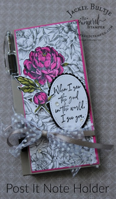Prized Peony Post It Note Holder