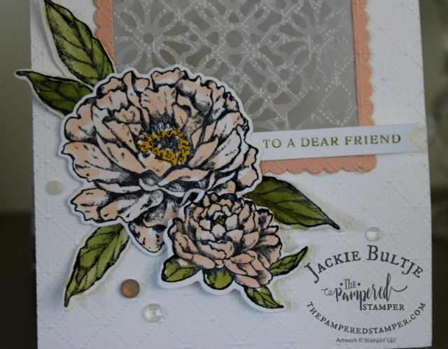Square vellum doily with Prized Peony